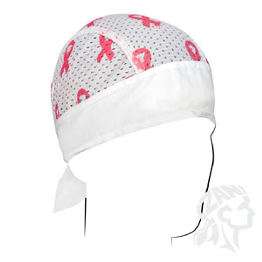 Flydanna - Vented Sport - Breast Cancer Pink Ribbon - White