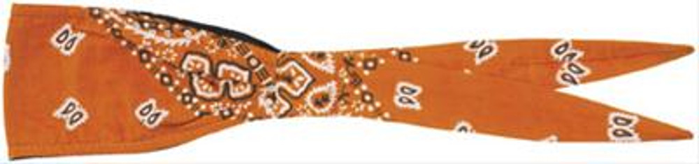 """Old School"" Bandanna - Orange Ground - White Paisley"