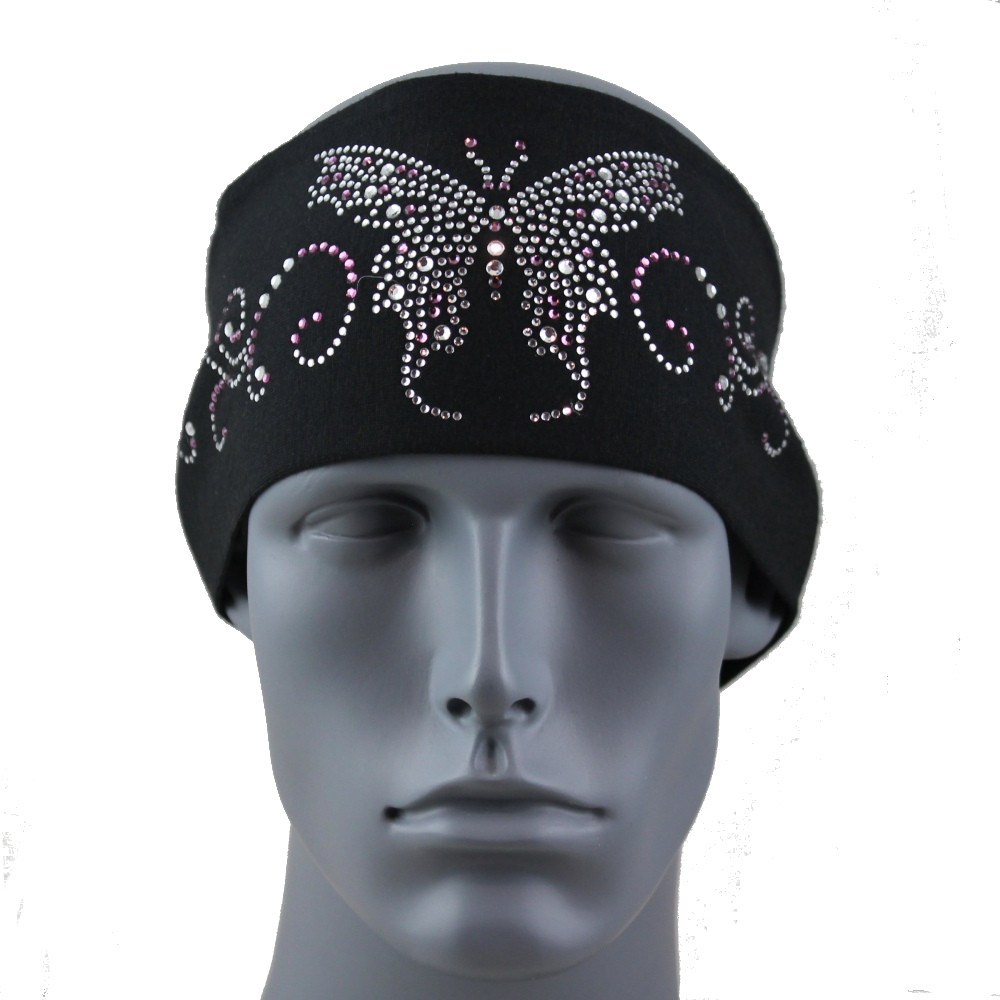 "Clear and Amethyst Butterfly 3.5"" Headband By DesignWraps"