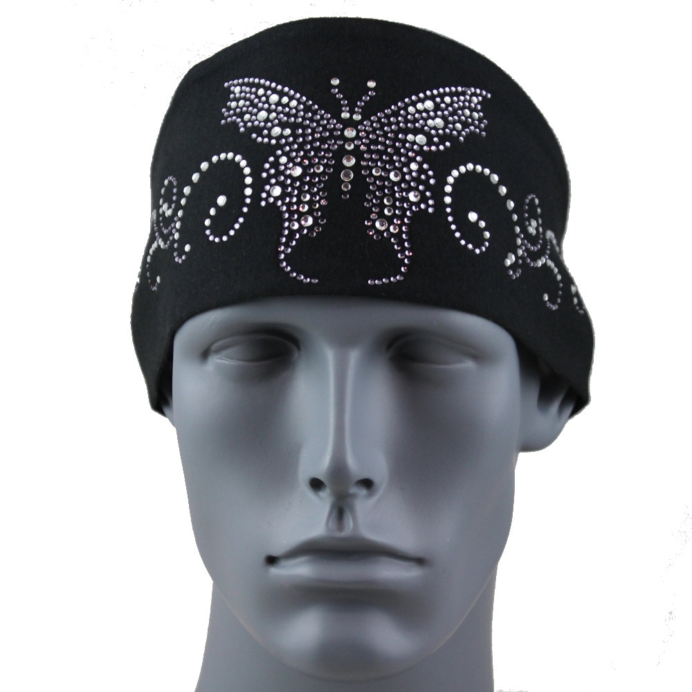 Black Diamond Rhinestone Butterfly Stretch HeadBand