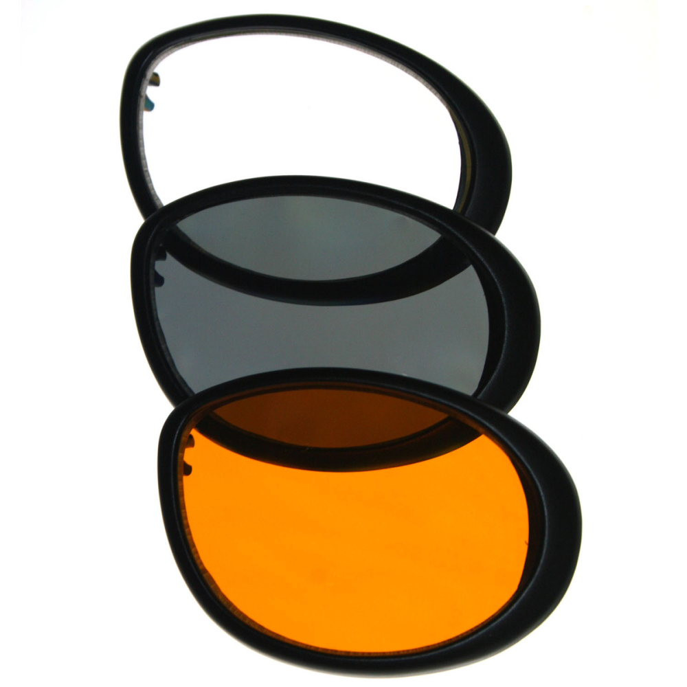 Crusier II - Motorcycle Goggles - With Amber, Clear, and Smoked Lenses