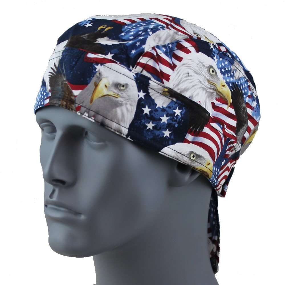USA Timeless Eagle Doo Rag - With Velcro Straps & Sweatband
