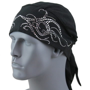 Clear Rhinestone Tribal Scroll Black Stretch TotalWrap