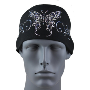 Clear & Lt Sapphire Rhinestone Butterfly Stretch HeadBand