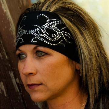 Clear Rhinestone Tribal Scroll Stretch HeadBand
