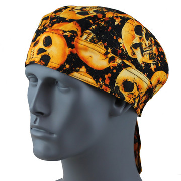 Skull On Fire Doo Rag  -  With Velcro Straps & Sweatband