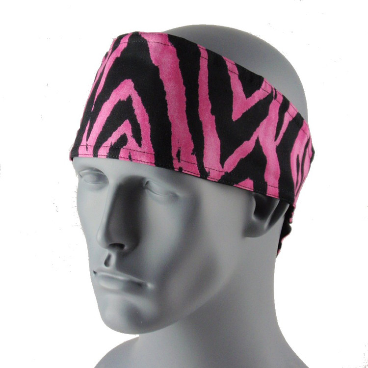 Pink Zebra Head Wrap With Hook & Loop Strap