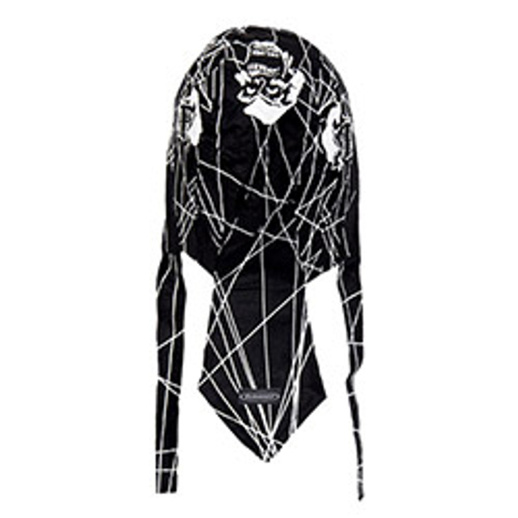 Rider Headwrap - Cobwebs & Skulls - Black & White