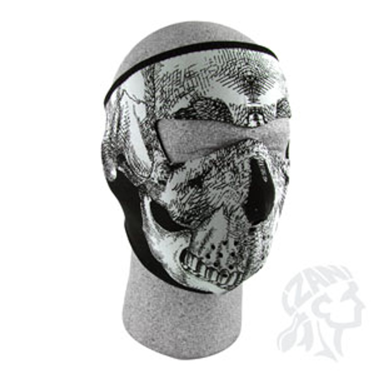 Glow In The Dark - Black and White Skull Face - Neoprene Face Mask