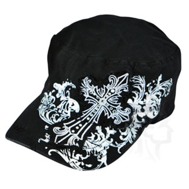 ZANheadgear Highway Honeys Cap - Gothic Cross - Black