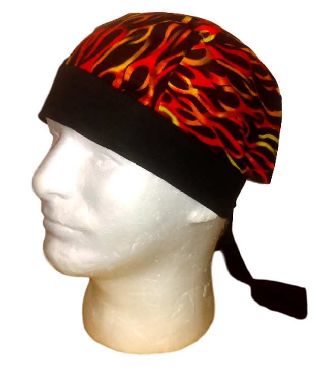 Orange-Yellow-Red Flames On Black By Doo Rag Station