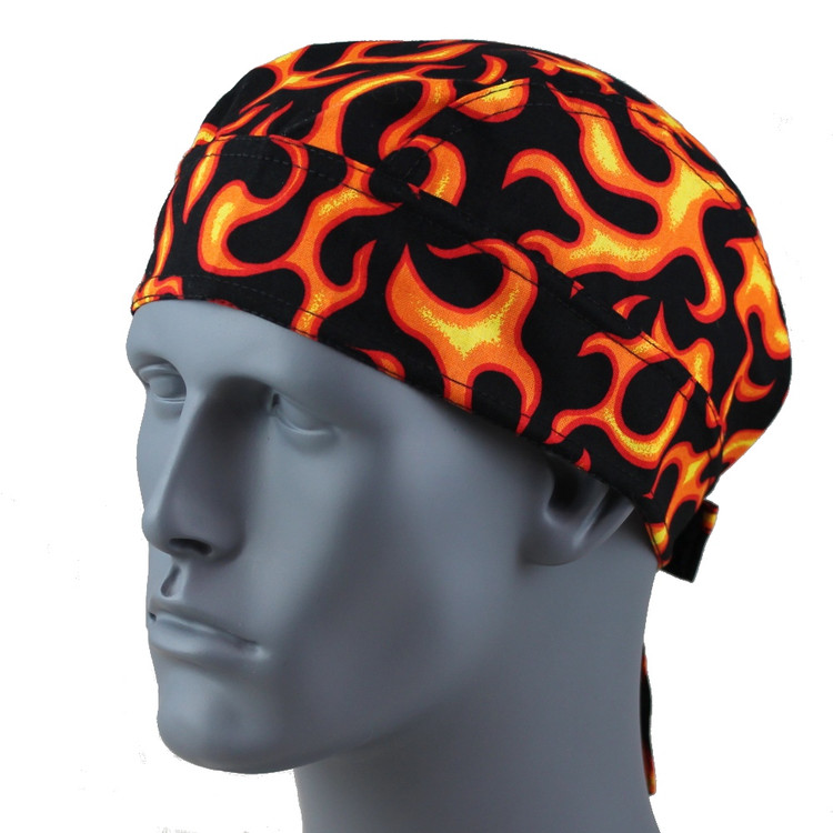 Orange Flames - No Sweatband - Velcro Straps - No More Knots  - BaldHeadStore