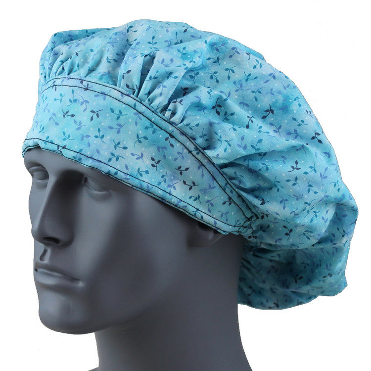 Bouffant Style Scrub Cap - Flower Vine Blue - By NoMoreKnots
