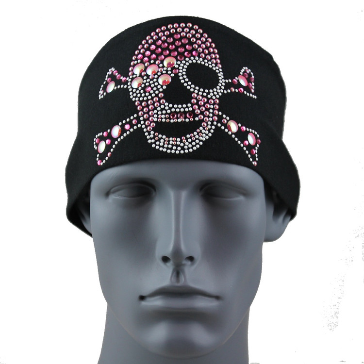 Pink Sunspark Pirate Skull & Crossbones Stretch HeadBand