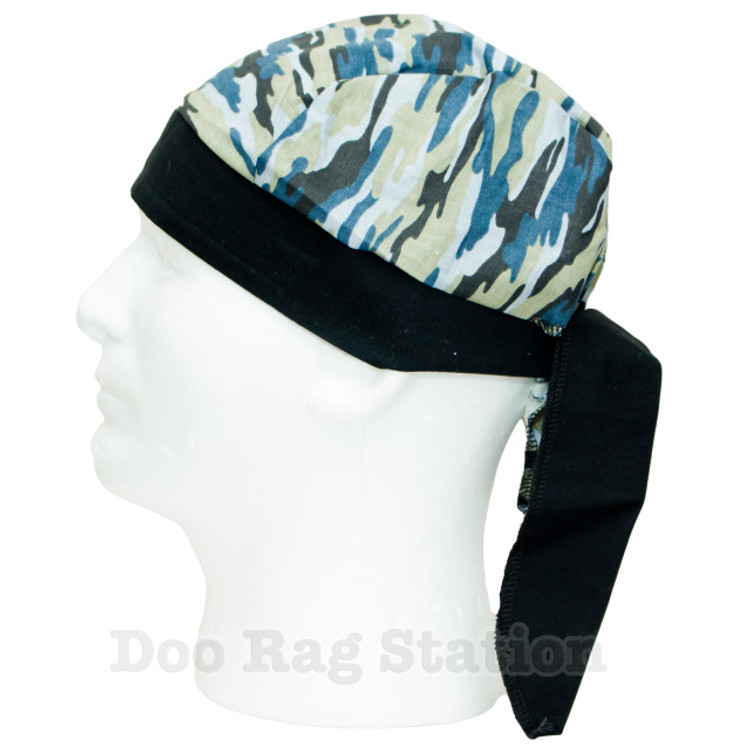 Camo - Cream, Black & Blue By Doo Rag Station