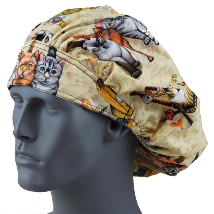 Bouffant Style Scrub Cap - Kitty Play - By NoMoreKnots