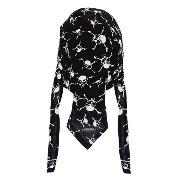 Rider Headwrap - Linked Skull & Cross-bones - Black & White