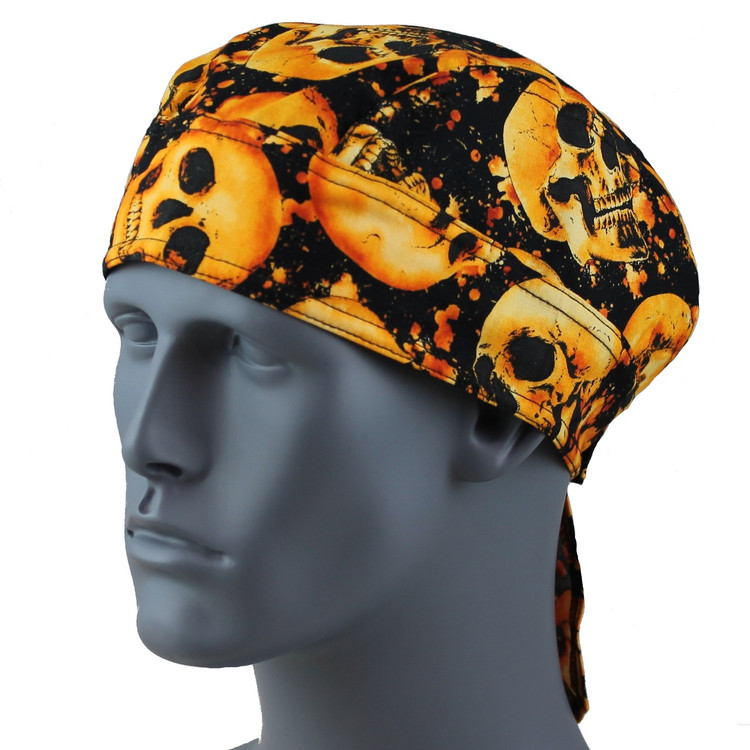 Skull On Fire Doo Rag  -  With Velcro Straps & Sweatband