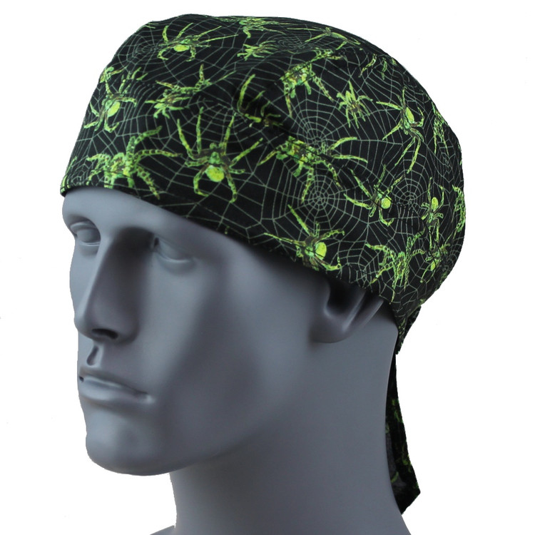 Spider Glow In The Dark Doo Rag - With Velcro Strap & Sweatband