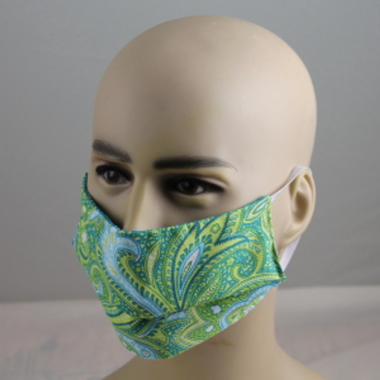 Green Paisley - Face Mask