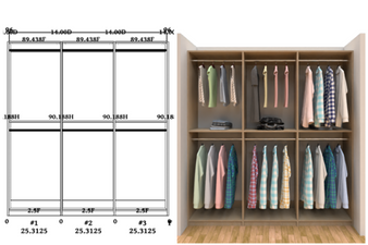 Linear closet, custom closet, closet free shipping, closet, Barcelona linear closet