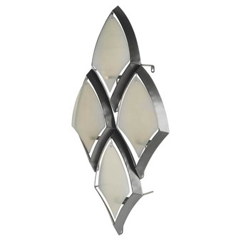 53323 - Tarmac II Collection of 4 Silver Metal Frame w/Frosted Glass Shade Wall Candle Holder