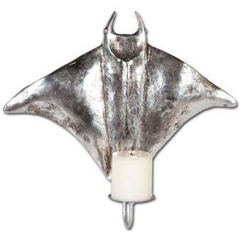 """57426 - Banha 15"""" Pewter Finish Stingray Shark Wall Candle Holder"""