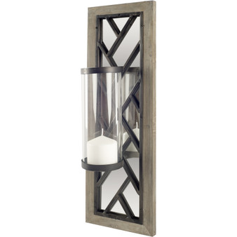 """67596 - Benji 24""""H Brown Wood Frame Black Metal Accent Mirrored Wall Candle Holder"""