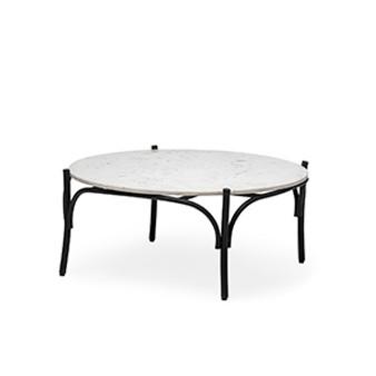 "68507-AB - Etienne VI 36"" Round White Marble Top Black Metal Base Coffee Table"