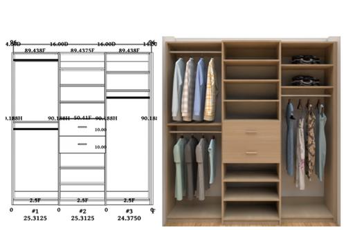 Linear closet, custom closet, closet free shipping, closet, Ibiza Linear closet