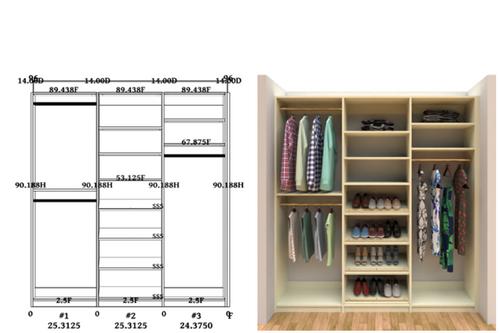 Linear closet, custom closet, closet free shipping, closet, Santorini linear closet