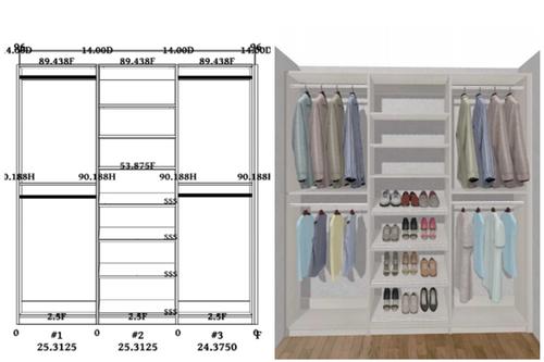 Linear closet, custom closet, closet free shipping, closet, Mikonos linear closet