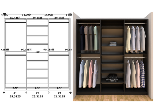 Linear closet, custom closet, closet free shipping, closet, Madrid linear closet