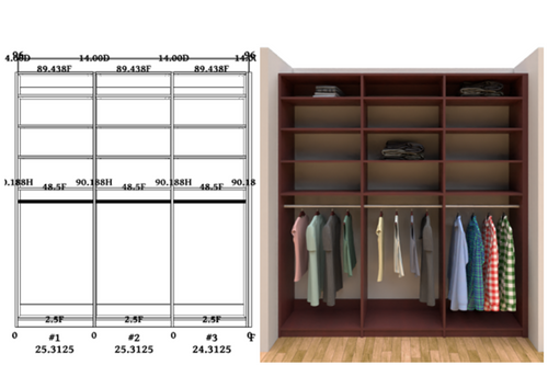 Linear closet, custom closet, closet free shipping, closet, Berlin linear closet