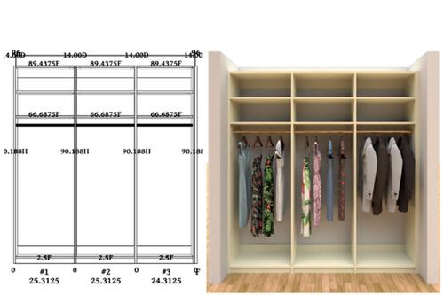 Linear closet, custom closet, closet free shipping, closet, Paris linear closet