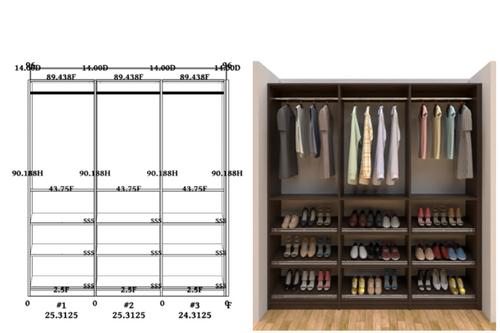Linear closet, custom closet, closet free shipping, closet, Milan linear closet
