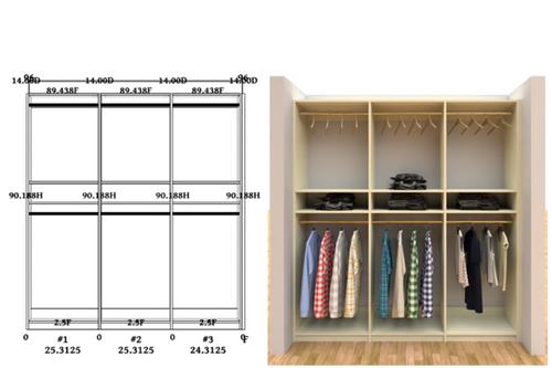 Linear closet, custom closet, closet free shipping, closet, Palermo linear closet