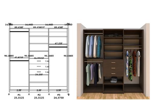 Linear closet, custom closet, closet free shipping, closet, Bari linear closet
