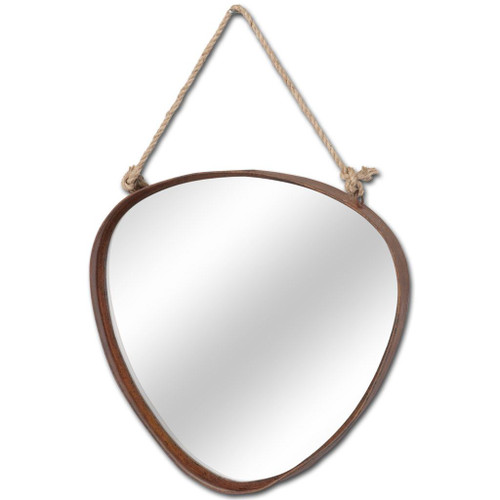 """37156 - Morsey 18"""" Triangular Brown Metal Frame Mirror"""