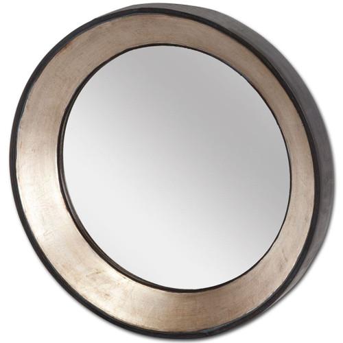 """37198 - Ovallas 22"""" Round Champagne Wood Frame Mirror"""