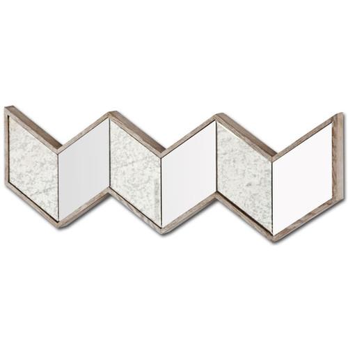 37225 - Cheveronna 36x12 Chevron Brown Wood Frame Mirror