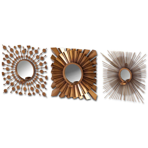 37243 - Ambergis (set of 3) Brass Metal Candle Holder Mirror