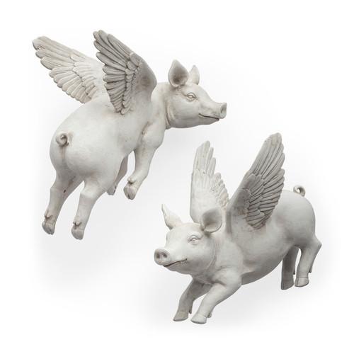 44201 - Hogbadi Set of 2 White Flying Pigs
