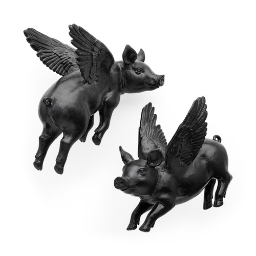 44202 - Hogbadi Set of 2 Black Flying Pigs