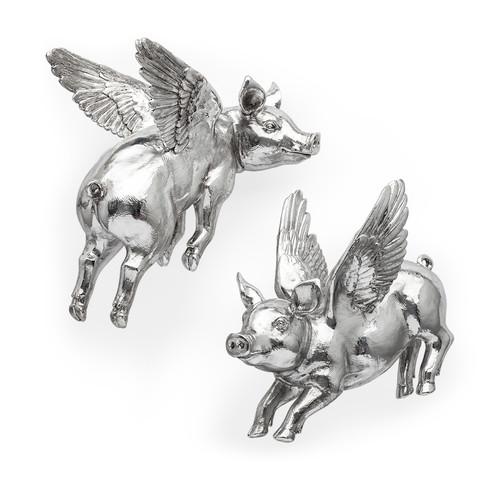 44203 - Hogbadi Set of 2 Silver Flying Pigs