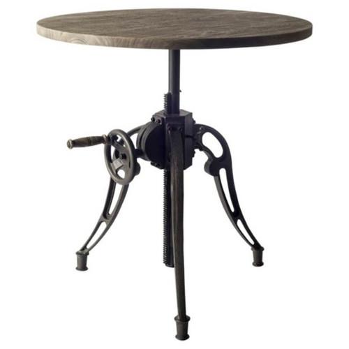 """50447 - Emslie II 30"""" Grey Solid Wood Top Black Metal Base Bistro Dining Table"""