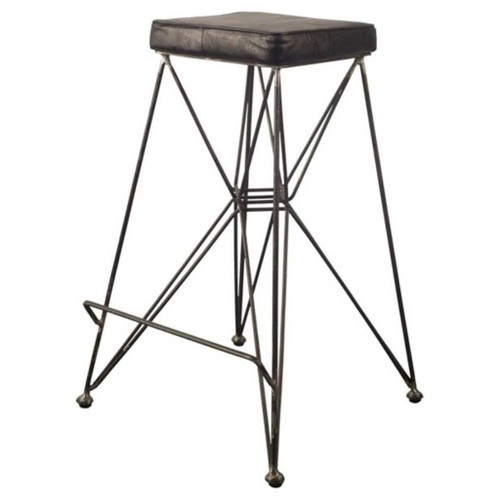 "50463 - Filion 30"" Seat Height Black Faux-Leather Seat Black Metal Frame Stool"