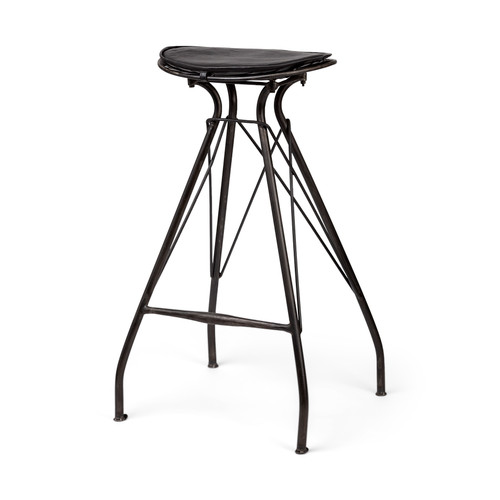 "50487 - Orville 30.75"" Seat Height Black Faux-Leather Seat Gold Metal Frame Stool"