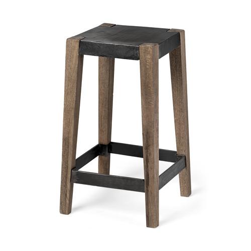 "50507 - Nell II 26"" Seat Height Black Wood Seat Brown Wood/Metal Base Stool"