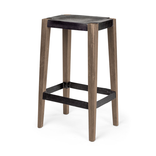"50508 - Nell III 30"" Seat Height Black Wood Seat Brown Wood/Metal Base Stool"